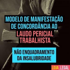 Modelo de manifestação de concordância ao laudo pericial trabalhista – não enquadramento da insalubridade